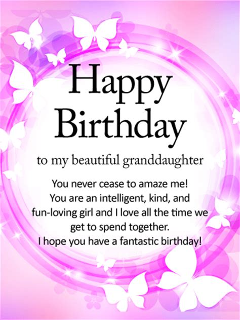 Happy Birthday Wishes To My Granddaughter Shining Butterfly Happy Birthday Wishes Card For