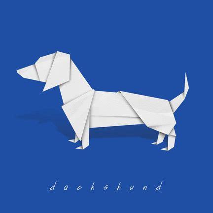 Dachshund Origami - dachshund print of origami design