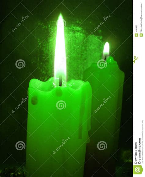 green burning candles stock image image  fragrance