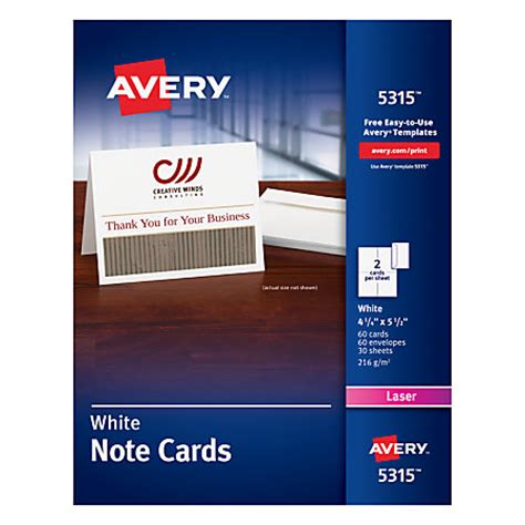 avery printable thank you cards avery laser note cards 4 14 x 5 12 white box of 60 by