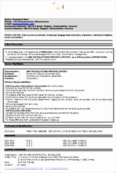Excellent Resume Exle by 8 Excellent Resume Template Exceltemplates Exceltemplates