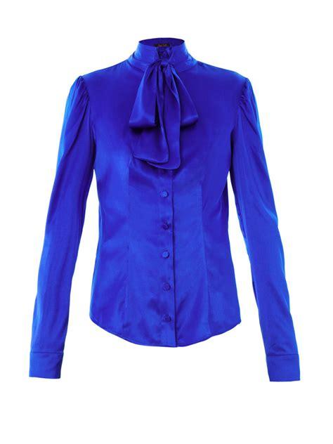 Blouse Blue lyst l wren pussybow silk blouse in blue