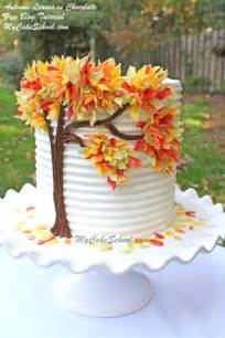 Autumn leaves in chocolate free cake decorating tutorial by