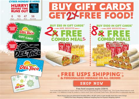 Del Taco Gift Cards - free combo meals for del taco gift card purchases