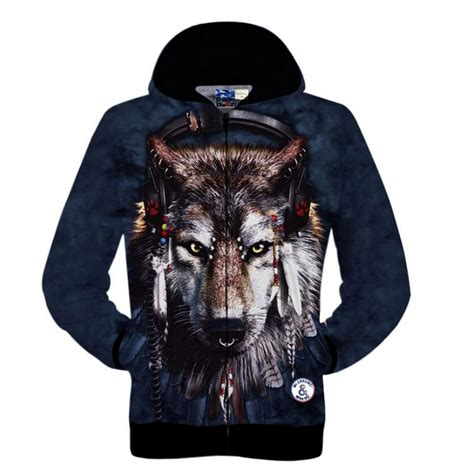 Hoddie 3d Wolf new 2015 fashion mens womens zipper sweatshirt the indian wolf printed 3d hoodies sleeve knitted