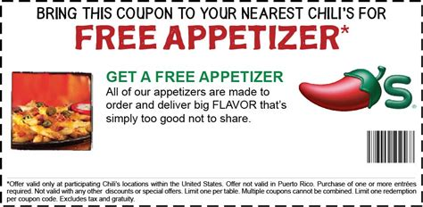 chilis printable coupon free appetizer the challenge chili s free appetizer coupon