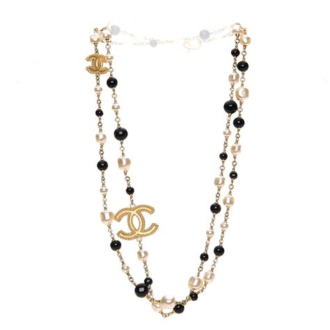 pearl bead necklace chanel pearl bead cc necklace black gold 204627