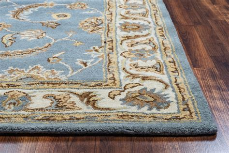 10 12 Blue Brown Teal Area Rug volare floral trellis pattern wool area rug in blue