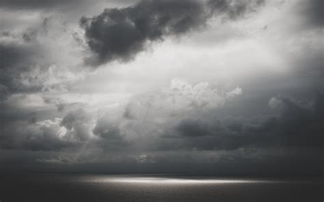 black and white ocean wallpaper nature sea ocean water sunlight sunbeam sky clouds light