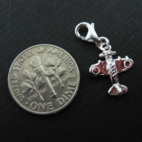 sterling silver airplane charm charm with clasp charm