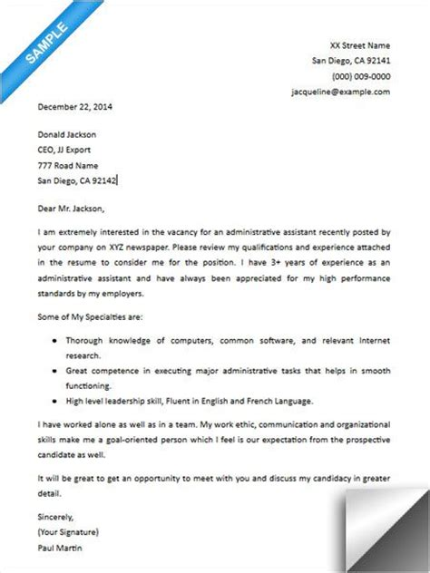 administrative assistant cover letter sles 17 best images about cover letter sle on