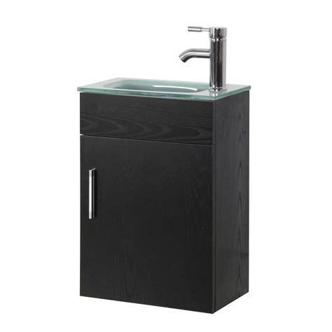 Small Bathroom Vanities With Tops Modern Small Black Bathroom Vanity Sink Tempered Glass Vanity Top Clear Frosted Ebay