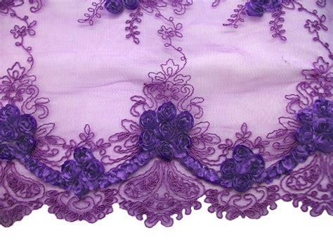 Decorative Ribbon Dress Purple border rosette netting corded ribbon tulle fabric