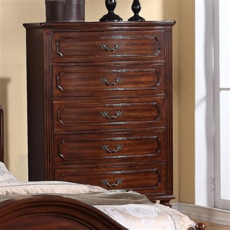 5 drawer cherry wood dresser poundex f4824 five drawer bedroom chest in natural cherry