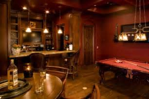 View in gallery contemporary billiards room featuring red walls and