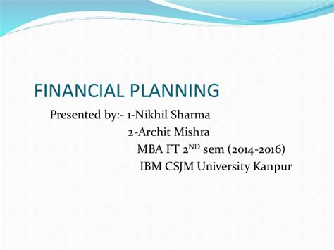 Creighton Mba Financial Planning by Financial Planning