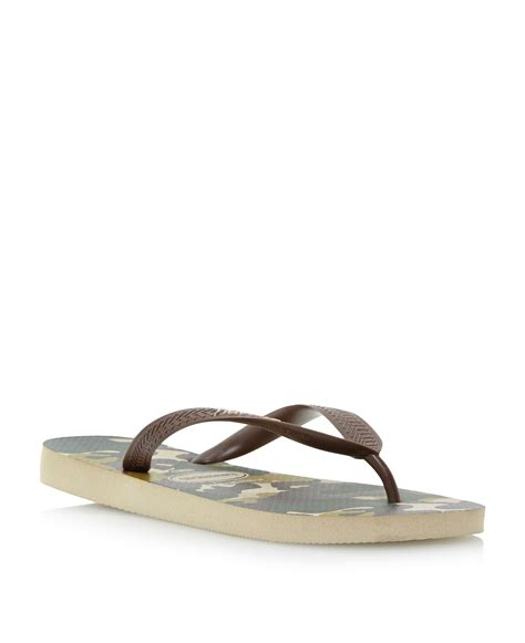 Sandal Jepit Camou Flipflops Chocolate havaianas camo print slip on casual flip flops in brown for lyst