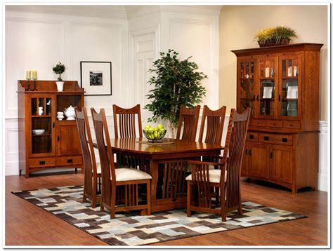 Mission Style Dining Room Sets by 7 Pieces Oak Mission Style Dining Room Set With High Back Dining Chairs With White Fabric