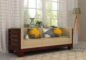 Wooden Sofa Set With Price List Hizen 3 Seater Wooden Sofa Mahogany Finish