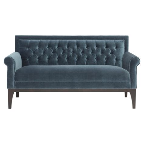 blue velvet settee calloway hollywood regency tufted blue velvet settee