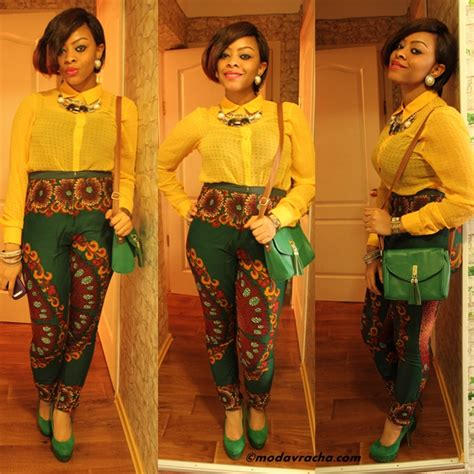 ankara trouser style beneath her lab coat
