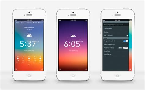 design inspiration iphone 50 weather app ui design for your inspiration hongkiat