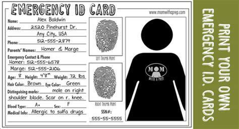 emergency id card template emergency id cards free with a prep