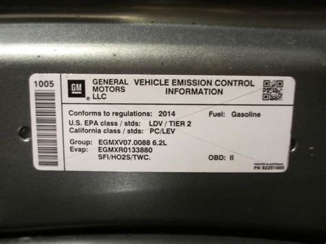 Ducati Emissions Sticker by Emissions Sticker Location Chevy Ss Forum