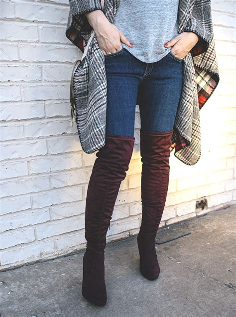 Would You Wear The Knee Boots by What To Wear With Burgundy The Knee Boots Allyson