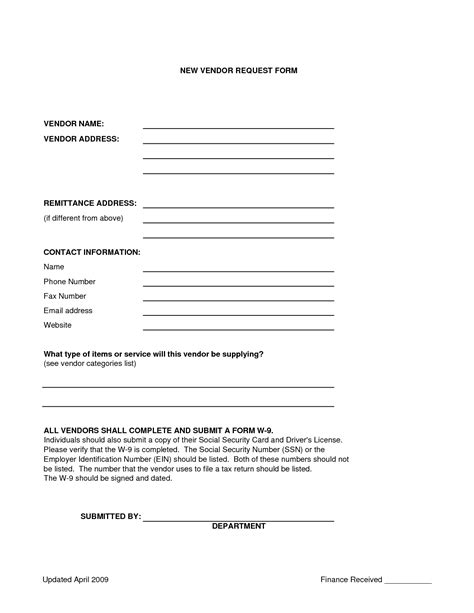 vendor forms template best photos of sle vendor form vendor information
