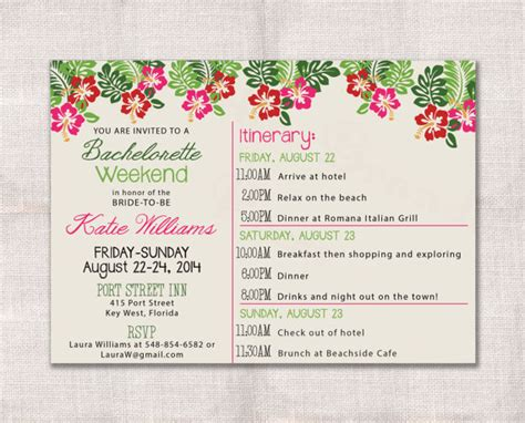 Bachelorette Weekend Template Bachelorette Party Weekend Invitation And Itinerary Custom Printable 5x7 2236751 Weddbook