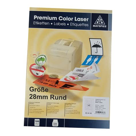 Etiketten Drucker Rund by 28mm Etiketten Rund May Spies Premium Color Laser 48