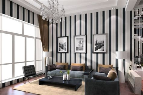 Striped Wallpaper Living Room Ideas by Modern Living Room Design Ideas Of Black And White Vertical Stripes Wallpaper New Home