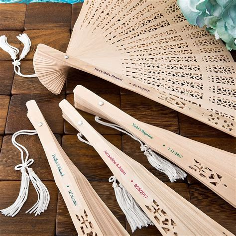 Wedding Favors Personalized by Personalized Carved Sandalwood Folding Fan Favors