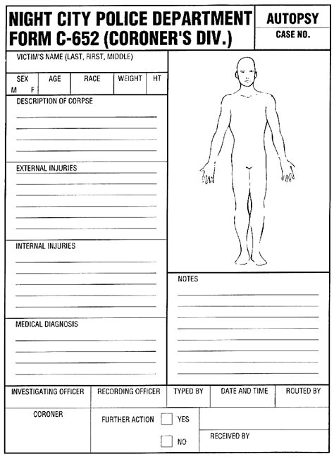 Coroner S Report Template best photos of coroner s report template blank autopsy