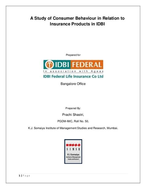 Mba Project Report On Idbi Federal by Idbi Federal Insurance Summer Internship Report