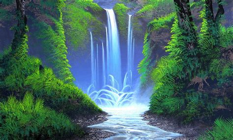 color place whisper forest waterfall places paintings grass peaceful