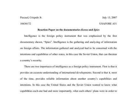 how to write an introduction for a reaction paper reaction paper on the documentaries quot korea quot and quot spies