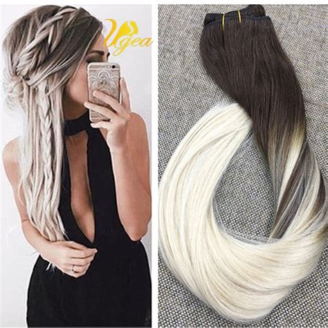 platinum blonde and brown ombre balayage platinum blonde 60 remy ombre clip in human hair