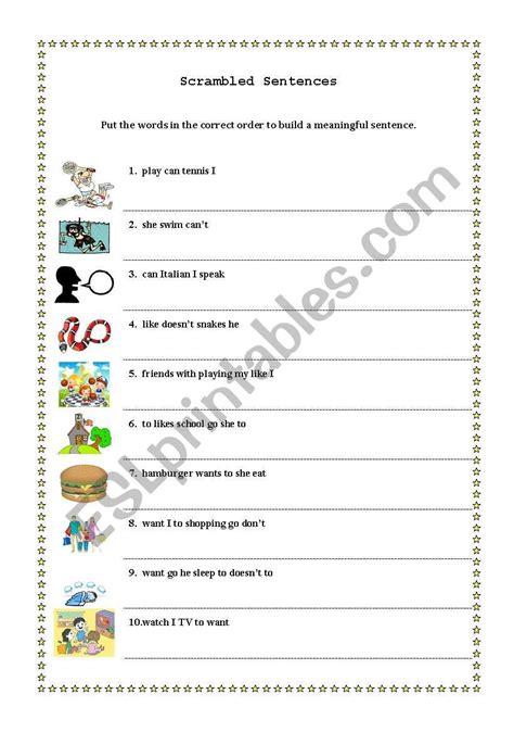 scrambled sentences esl worksheet by basol