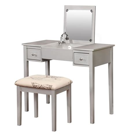 silver bedroom vanity linon butterfly 2 piece bedroom vanity set in silver