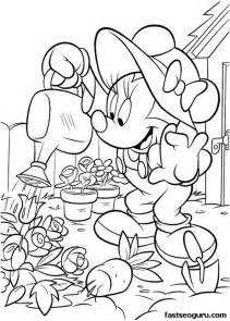 malvorlagen garten printable minnie mouse working in the garden coloring page