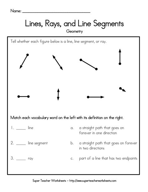 geometry worksheet naming angles a teacher ideas lines rays and line segments worksheet name lines rays