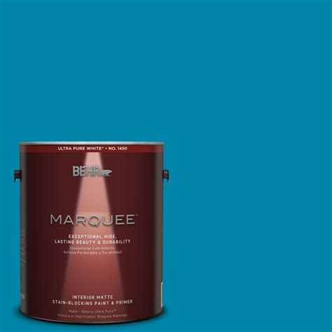 turquoise paint colors home depot behr marquee 1 gal mq4 53 tibetan turquoise one coat