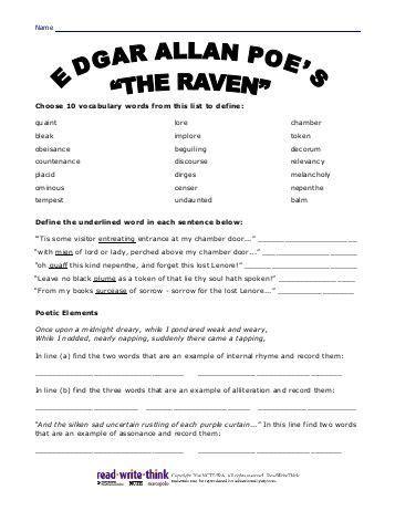 a e biography edgar allan poe worksheet all worksheets 187 edgar allan poe worksheets printable