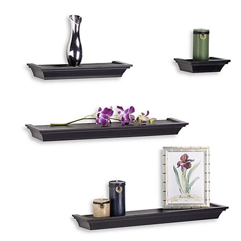 Melannco 4 Piece Ledge Set In Black Www Bedbathandbeyond Com Decorative Wall Shelves For Bathroom