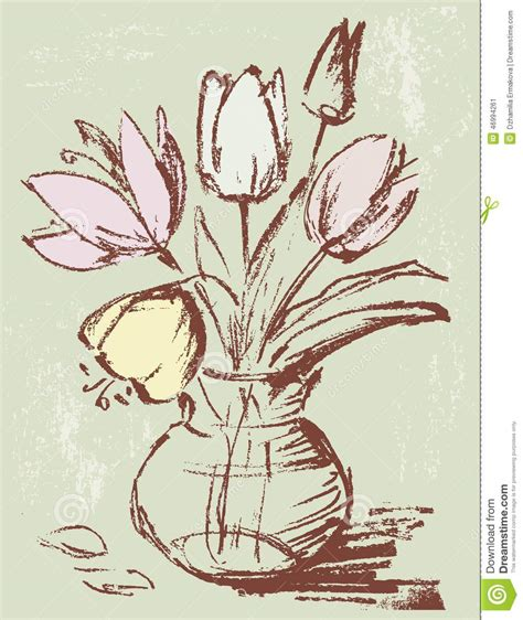 tulips in a vase stock vector image 46994261