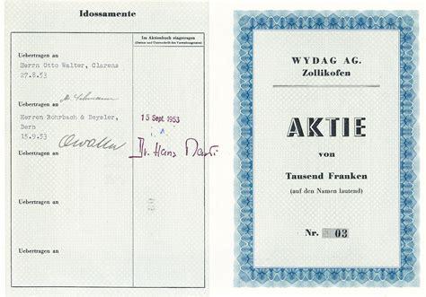 Muster Aktienbuch Schweiz muenzauktion 2403232 schweiz wydag ag zollikofen