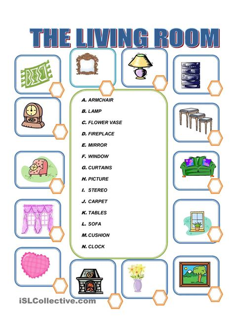 Living Room Worksheets Furniture In The Living Room Kindergarten