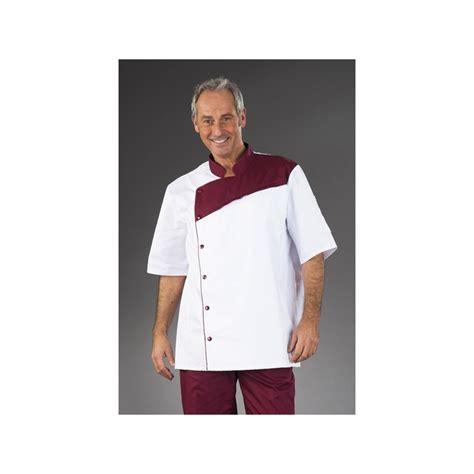 tenu de cuisine tenue de cuisine blanche pastron bordeaux manches courtes